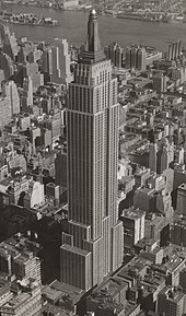 The Empire State Building in the 1940s, towering above its neighbors in Midtown Manhattan
