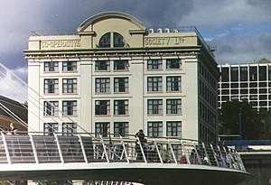 History of the cooperative movement - The old Co-operative building behind the Gateshead Millennium Bridge in Newcastle upon Tyne.