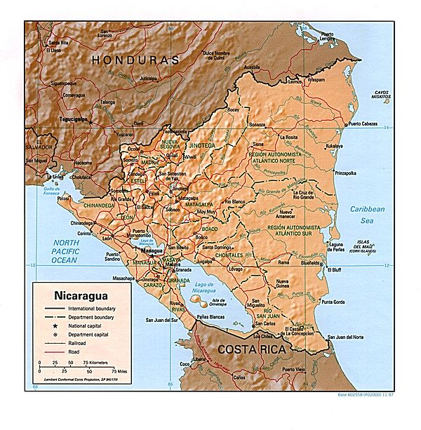 Shaded relief map of Nicaragua Nicaragua rel 97.jpg