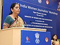 Nirmala Sitharaman addressing at the post-lunch session of the All India Women Journalists' workshop, jointly organised by the Ministry of Women and Child Development and Press Information Bureau, in New Delhi.jpg