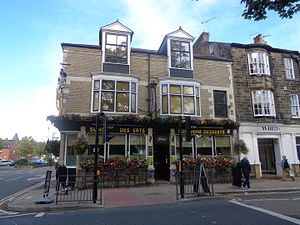 The Fall and Rise of Reginald Perrin - A pub in Harrogate, North Yorkshire dressed as Sunshine Desserts following writer David Nobbs' death.