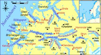 Nordfjorden (Sogn og Fjordane) - Map of the fjord and surrounding areas