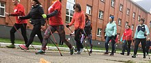 A Nordic walking group