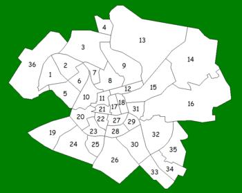 Übersichtskarte zu Stadtbezirken Norrköpings