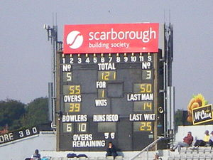North Marine Road Ground, Scarborough - Image: North Marine Road Scoreboard