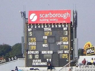 North Marine Road Ground, Scarborough - Image: North Marine Road Scoreboard