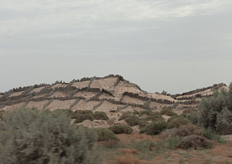 Desertification - Anti-sand shields in north Sahara, Tunisia