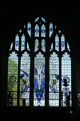 Northleach - 15th-century east window of SS Peter and Paul parish church, with glass designed by Christopher Webb and made in 1963