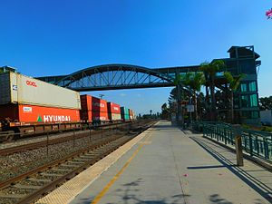 Norwalk/Santa Fe Springs station - The Norwalk/Santa Fe Springs station in September 2016. A BNSF freight train is on the left.