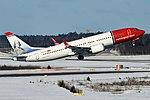 Norwegian (Benjamin Franklin livery), EI-FYD, Boeing 737-8 MAX (40637717771).jpg