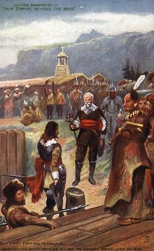 David Kirke - Champlain (centre, holding sword) surrenders Québec to Admiral Kirke on 20 July 1629.
