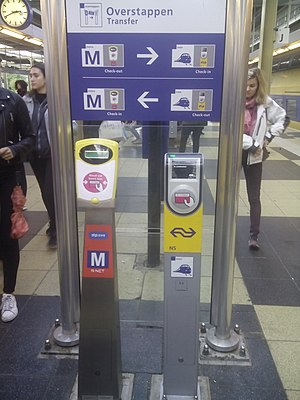 OV-chipkaart - As all public transport operators use their own card readers for checking in and out, passenger transferring from one operator to another must first check out with the first operator and then check in with the second operator.