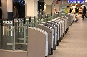 OV-chipkaart - Ticket barriers at Amsterdam Centraal railway station.