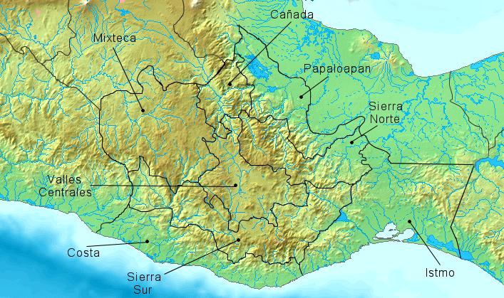 Oaxraca fisico regiones