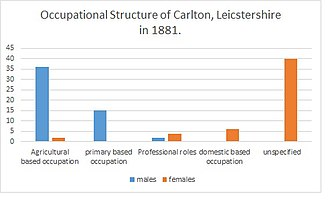 Carlton, Leicestershire - occupational structure in Carlton Leicestershire in 1881 for both males and females