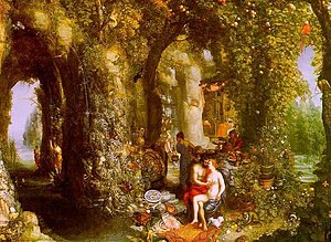 Ogygia - Odysseus and Calypso in the caves of Ogygia. Painting by Jan Brueghel the Elder (1568–1625)