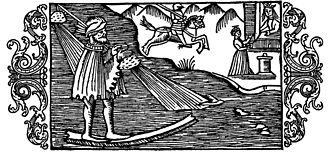 Ullr - Ollerus traverses the sea on his magic bone. 16th century woodcut
