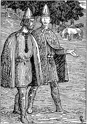 Hárek of Tjøtta - Hárek with Olaf Tryggvason.  1897 drawing by Halfdan Egedius