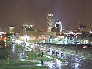 Geography of Omaha - Downtown Omaha's skyline during rainy night.