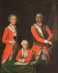 David-Louis de Constant Rebecque, seigneur de Villars-Mendraz et d'Hermenches (1722-1785), met twee jonge officieren