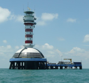 """One Fathom Bank Lighthouse - The """"new"""" One Fathom Bank Lighthouse, activated 1999."""