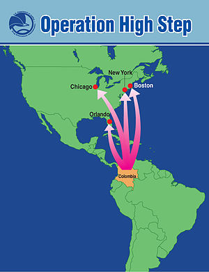 Map showing flow of heroin from Colombia to th...