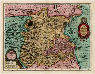 A detailed map of the principality in the first half of the 17th century reproduced from the famous 1627 Atlas of Willem Janszoon Blaeu. The area of the principality was approximately 12 miles long by 9 miles wide, or 108 sq. miles. Orange Principality Map.jpg