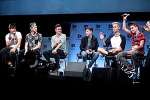 Connor Franta - Franta (third from left) with other members of Our2ndLife at VidCon 2014