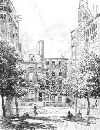 """Horace Howard Furness - """"Dr. Furness's House, West Washington Square, just before it was torn down."""" (1914), Joseph Pennell."""