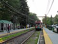 Outbound train at Woodland station, September 2015.JPG