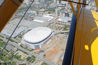 Mercedes-Benz Stadium - Aerial photo showing land next to Georgia Dome cleared for construction of the new stadium.