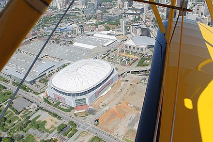 Aerial photo showing land next to Georgia Dome cleared for construction of the new stadium. Overhead shot of Georgia Dome, New Falcons stadium construction site April 25, 2014.jpg