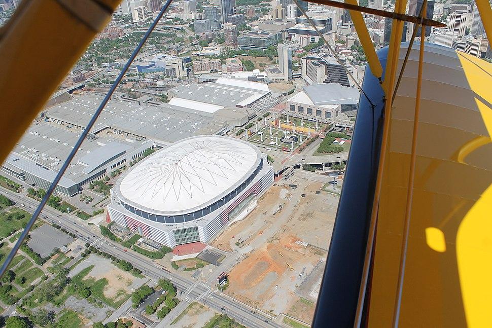 Overhead shot of Georgia Dome, New Falcons stadium construction site April 25, 2014