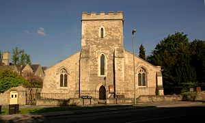 St Cross Church, Oxford - St Cross's west front, showing the medieval tower flanked by largely 19th-century aisles.