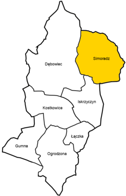 Location of Simoradz within Gmina Dębowiec