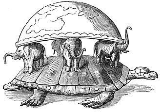 World Turtle - An 1876 drawing of the world supported on the backs of four elephants, themselves resting on the back of a turtle.