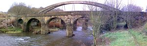 The grade II listed Pack Horse bridge to the north of the village