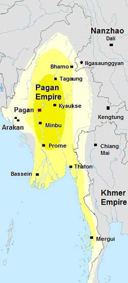 Pagan Empire circa 1210. Pagan Empire during Sithu II's reign. Burmese chronicles also claim Kengtung and Chiang Mai. Core areas shown in darker yellow. Peripheral areas in light yellow. Pagan incorporated key ports of Lower Burma into its core administration by the 13th century.