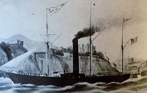 SS Ben-my-Chree (1845) - Image: Painting of Ben my Chree departing Douglas