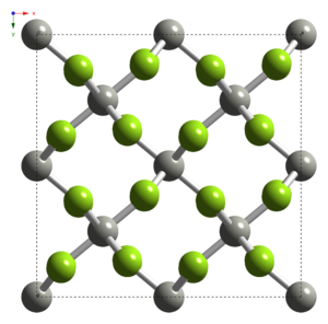 Palladium tetrafluoride - Image: Palladium(IV) fluoride unit cell from xtal 1978 CM 3D balls