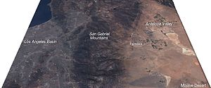 Palmdale, California - This satellite image, looking toward the west, shows the Palmdale / Antelope Valley area in relation to Los Angeles with the San Gabriel Mountains separating them.