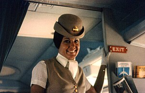 Pan-Am flight attendant on airplane. Photo tak...