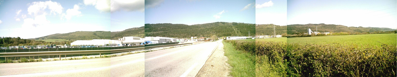 Montage photo d'un panorama des monts du Berthiand (vue depuis Nurieux-Volognat)