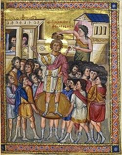 Coronación del rey David, miniatura de un salterio medieval conservado en la Biblioteca Nacional de Francia.