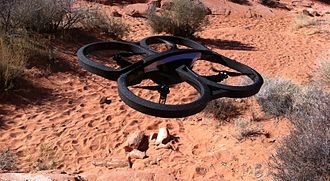 Quadcopter - Parrot AR.Drone 2.0 take-off, Nevada, 2012
