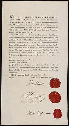 Passport John Adams Benjamin Franklin John Jay Ministers Plenipotentiary 1783