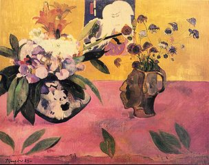 Still Life with Head-Shaped Vase and Japanese Woodcut