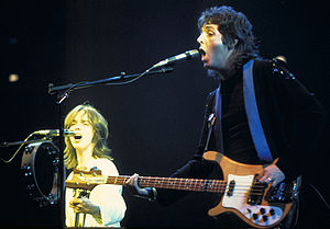 Wings Over the World tour - Jimmy McCulloch (left) and Paul McCartney (right) during the Wings Over the World tour.