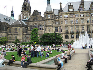 Sheffield - Sheffield Town Hall, adjacent to the Peace Gardens, is an example of Victorian era Gothic revival architecture.