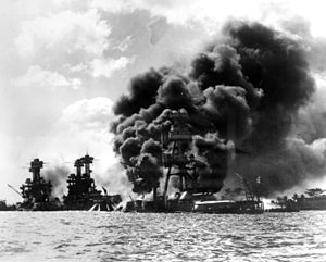 FILE--Three U.S. battleships are hit from the ...